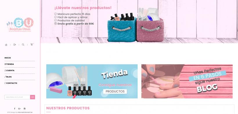 Creación de Tienda online de manicura semipermanente: Bonitasunas.com